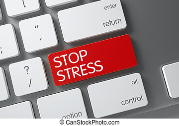 Red Stop Stress Button on Keyboard. 3D.