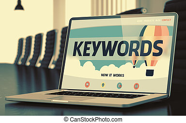 Landing Page of Laptop with Keywords Concept. 3D. - Mobile...
