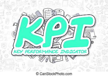 KPI - Cartoon Green Text. Business Concept. - Green Word -...