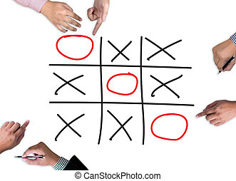 XO game of tic tac toe game close up ox (Hand drawn...