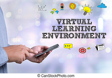VIRTUAL LEARNING ENVIRONMENT person holding a smartphone on...