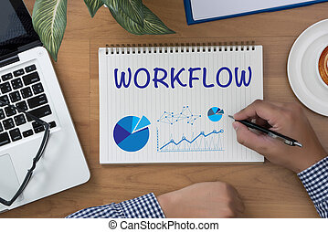 WORKFLOW man hand notebook and other office equipment such...