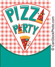Pizza Party Invitation - Illustration Featuring an...