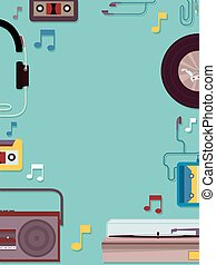 Retro Music Frame - Frame Illustration Featuring Vintage...