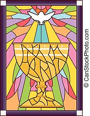 Stained Glass Chalice Dove - Stained Glass Illustration...