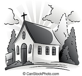 Chapel Grayscale - Black and White Illustration Featuring a...