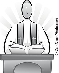 Priest Bible Sermon - Black and White Illustration Featuring...