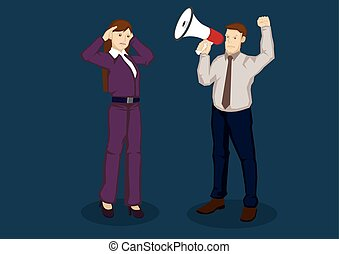Businesswoman with Hearing Problem Vector Illustration -...