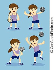 Cute Sporty Girl Playing Volley Ball Vector Illustration -...