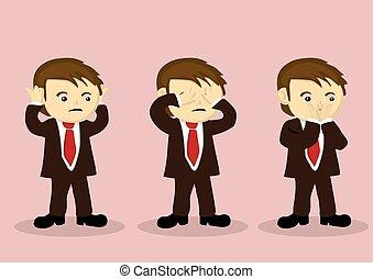 See No Evil Hear No Evil Speak No Evil Vector Cartoon Boy Character