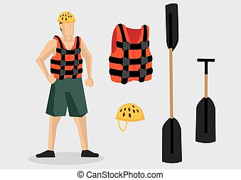 Vector Character and Equipment for Water Sports Outdoor...