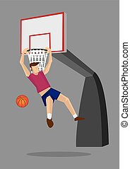 Basketball Player Elbow Hang Dunk Vector Illustration -...