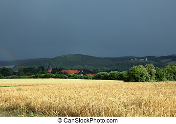 The village of Herleshausen after a summer storm