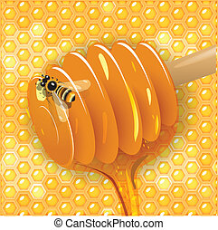 honey - Illustration, spoon with current honey on background...
