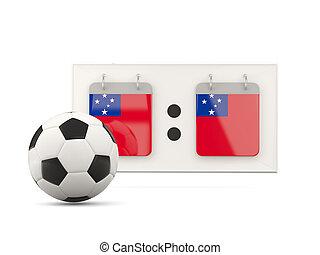bandiera, di, Samoa, football, con, scoreboard