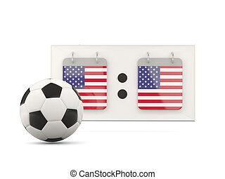 Flag of united states of america, football with scoreboard...