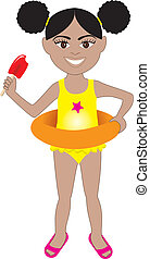 Afro Girl Swimsuit - Vector of Afro girl in swimsuit with...
