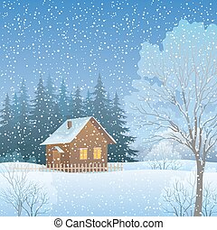 Winter Landscape with Country House - Winter Forest...