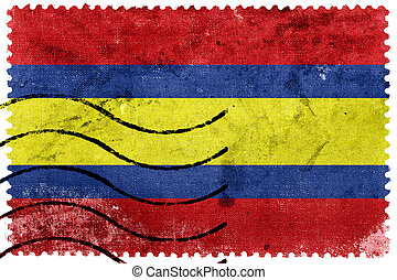 Flag of Loja, capital of Loja Province, Ecuador, old postage...