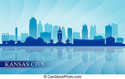 Kansas City skyline silhouette background, vector...