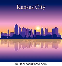 Kansas City silhouette on sunset background, vector...