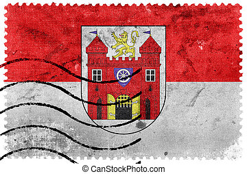 Flag of Liberec, Czechia, old postage stamp