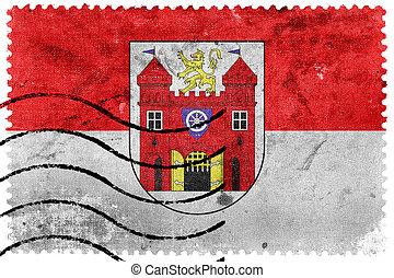 Flag of Liberec, Czechia, old postage stamp