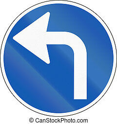 Road sign used in Denmark - Turn left ahead.