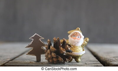 Christmas background - Santa Claus and Christmas tree on the...