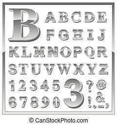 Greyscale metallic numerals and alphabet letters - Complete...