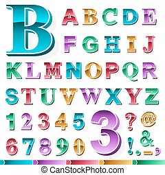 Complete set of colored alphabet and numbers