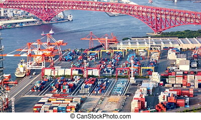 Timelapse of the port of Osaka, 4K - timelapse of aerial...