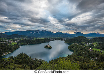 Bled Lake, Slovenia, with the Assumption of Mary Church in...