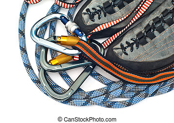 carabiners, ropes and climbing shoes - climbind equipment -...