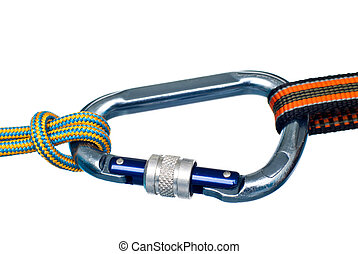 carabiner and two ropes - Isolated climbing equipment -...