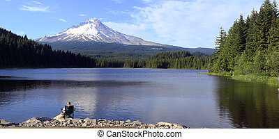 Mt Hood and Trillium lake panorama, - A panoramic view of...