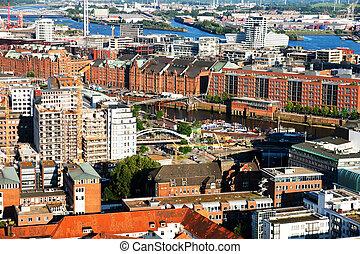 old warehouses in Hamburg - Hamburg from the bird\'s flight,...