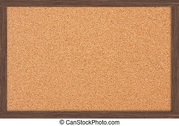 Bulletin Board - A cork bulletin board with a wooden frame,...