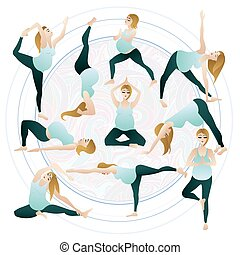 Set of Vector illustrations a pregnant woman doing pregnancy yoga poses