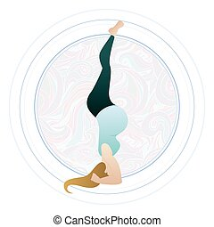 Vector illustration of a pregnant woman doing pregnancy yoga poses