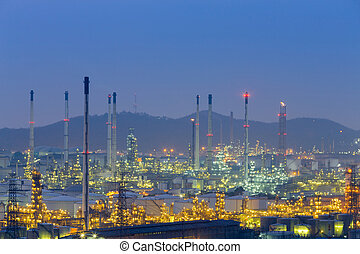 Oil heavy industrial with twilight sky background