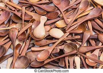 de madera, cucharas