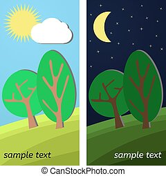 Two Trees. Day and Night on a Clearing.