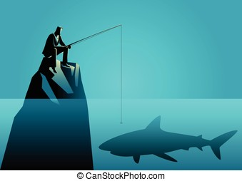 Businessman fishing a shark