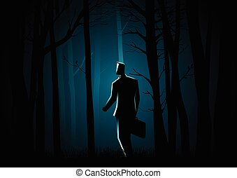Walking in the dark forest - Business concept illustration...