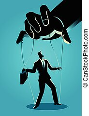 Businessman being controlled by puppet master - Business...