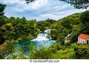 Waterfall of Krka National Park, Croatia - Waterfall...