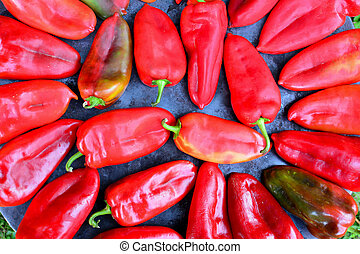 Red peppers on sheet cooker close up