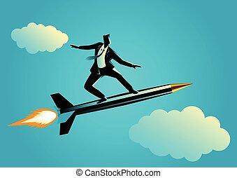 Businessman on a rocket pen - Business concept illustration...