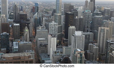 Aerial timelapse of the Chicago, Illinois skyline - An...